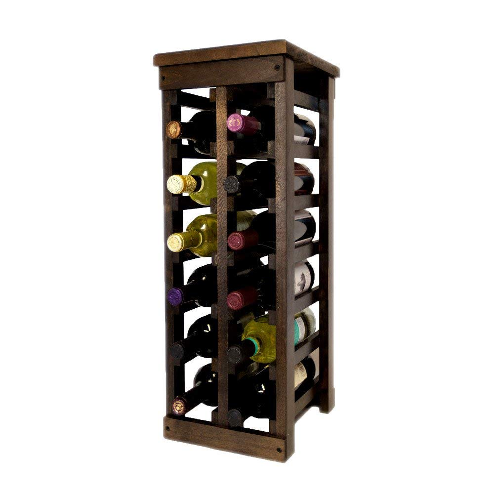 Personalized Wood Wine Rack, Rustic Solid Large Wood 12 Bottle Classic Wooden Wine Rack, Vintage Floor Decorative Wine Rack & E-Book