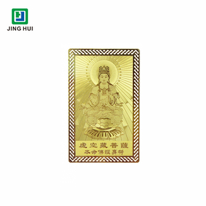 Custom Brass Etched Gold Metal Buddha Cards