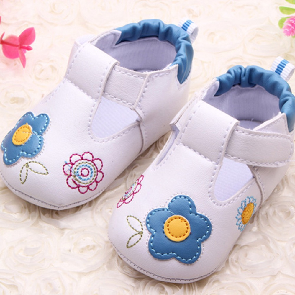 First Walkers Baby Infant Girl Embroidery Flower PU Leather Shoes Toddler Soft Sole Crib Shoe