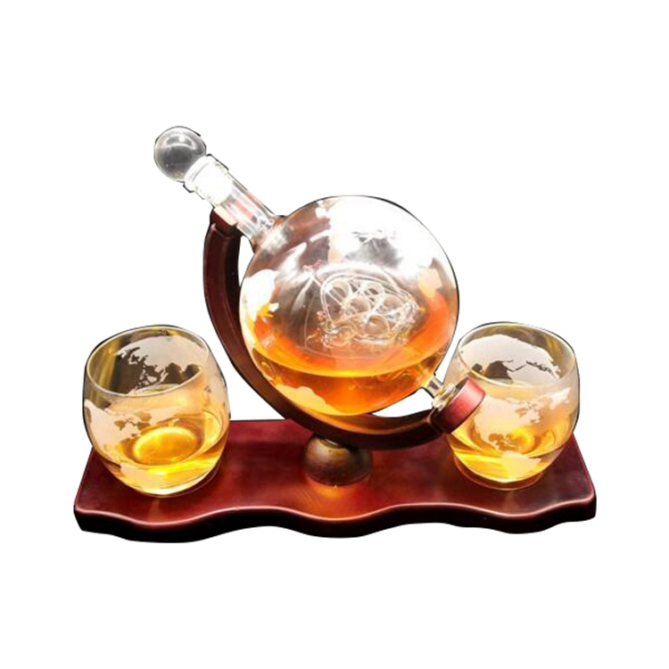 Whisky decanter globo insieme con 2 inciso globo occhiali-per Liquore del whisky, Scotch, Bourbon, Vodka e Vino 850 ml