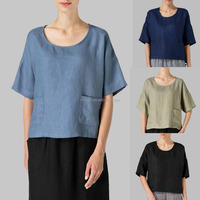 Custom OEM ODM Private Label Apparel Manufacturer Factory Sewing Line Woman Pocket Half Sleeve Cropped Linen Tops