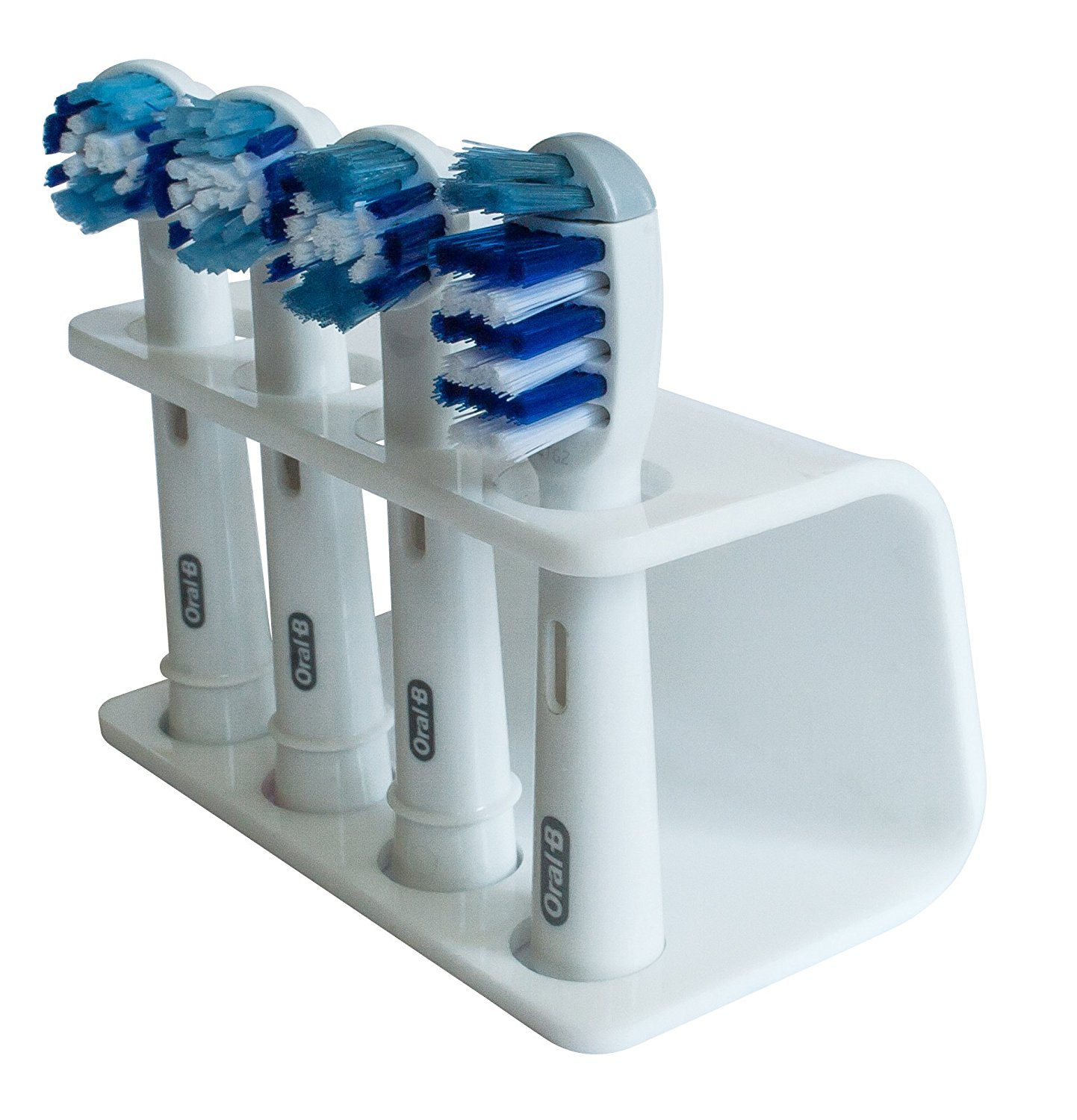 Seemii Electric Toothbrush Head Holder, 4 Heads, White, Fits Oral-b