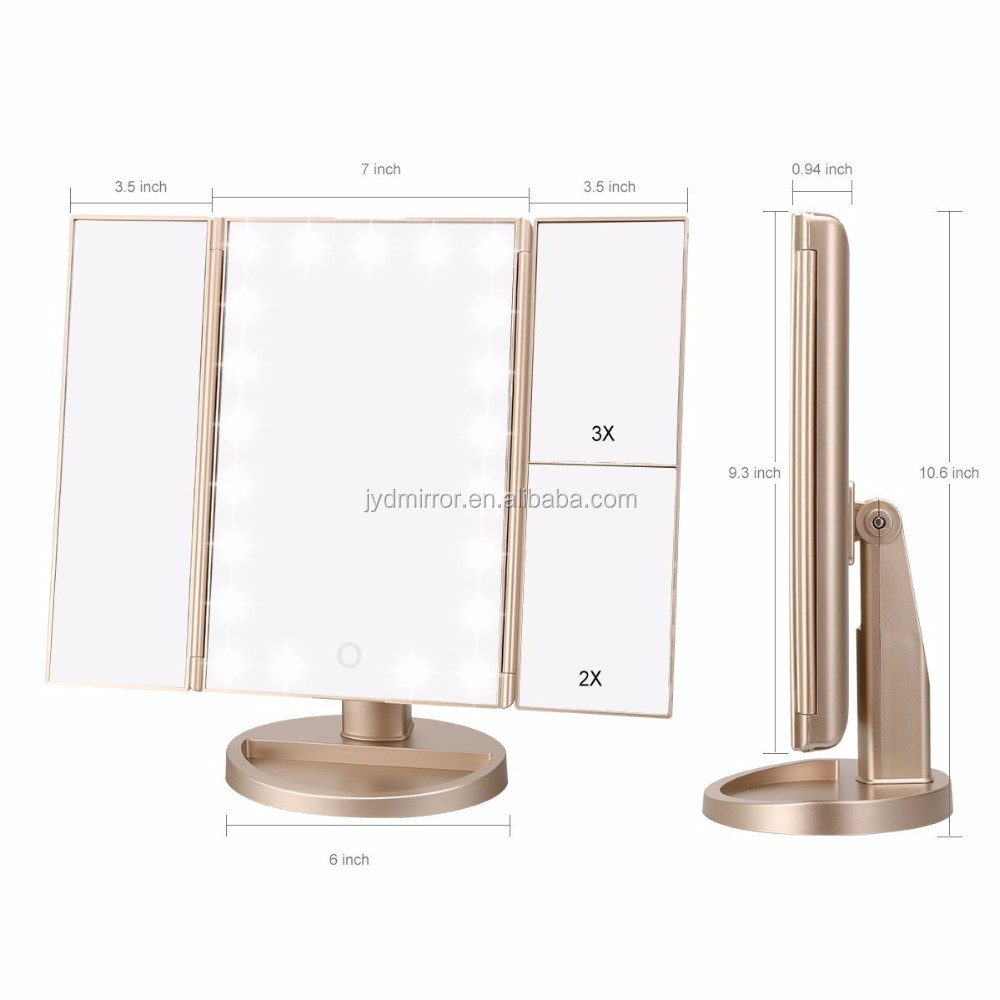 Trifold Lighted Makeup Mirror 21 Led Vanity Mirror With