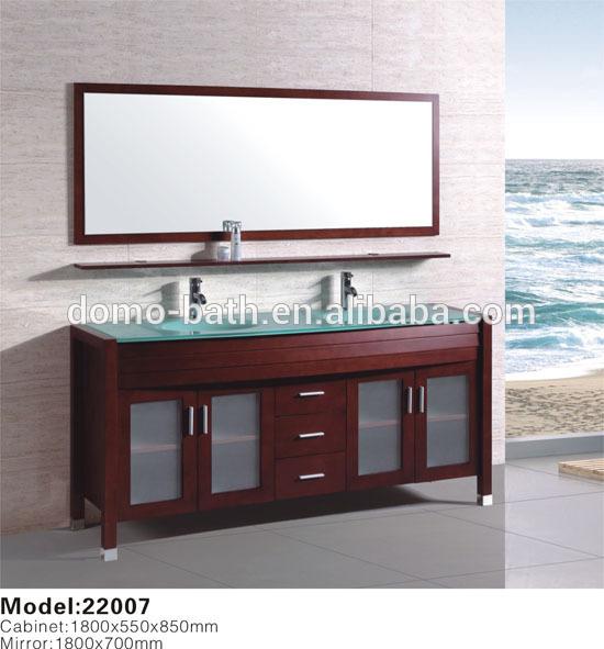 Domo de madera s lida lavabo doble mueble de ba o vanidad for Domo muebles