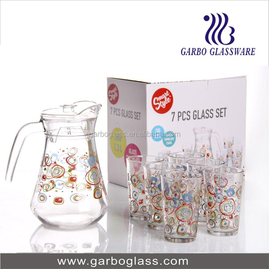 Colorful Printing 7pcs Glass Water Jug Set,Glass Water Pitcher ...