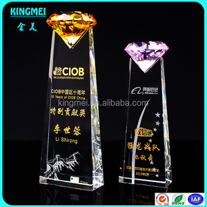 KM-XP66 China High Quality Business Souvenir Gift Cute Pink Diamond Crystal Trophy