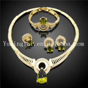 Moti gold plated jewelry made in china with green crystal stone