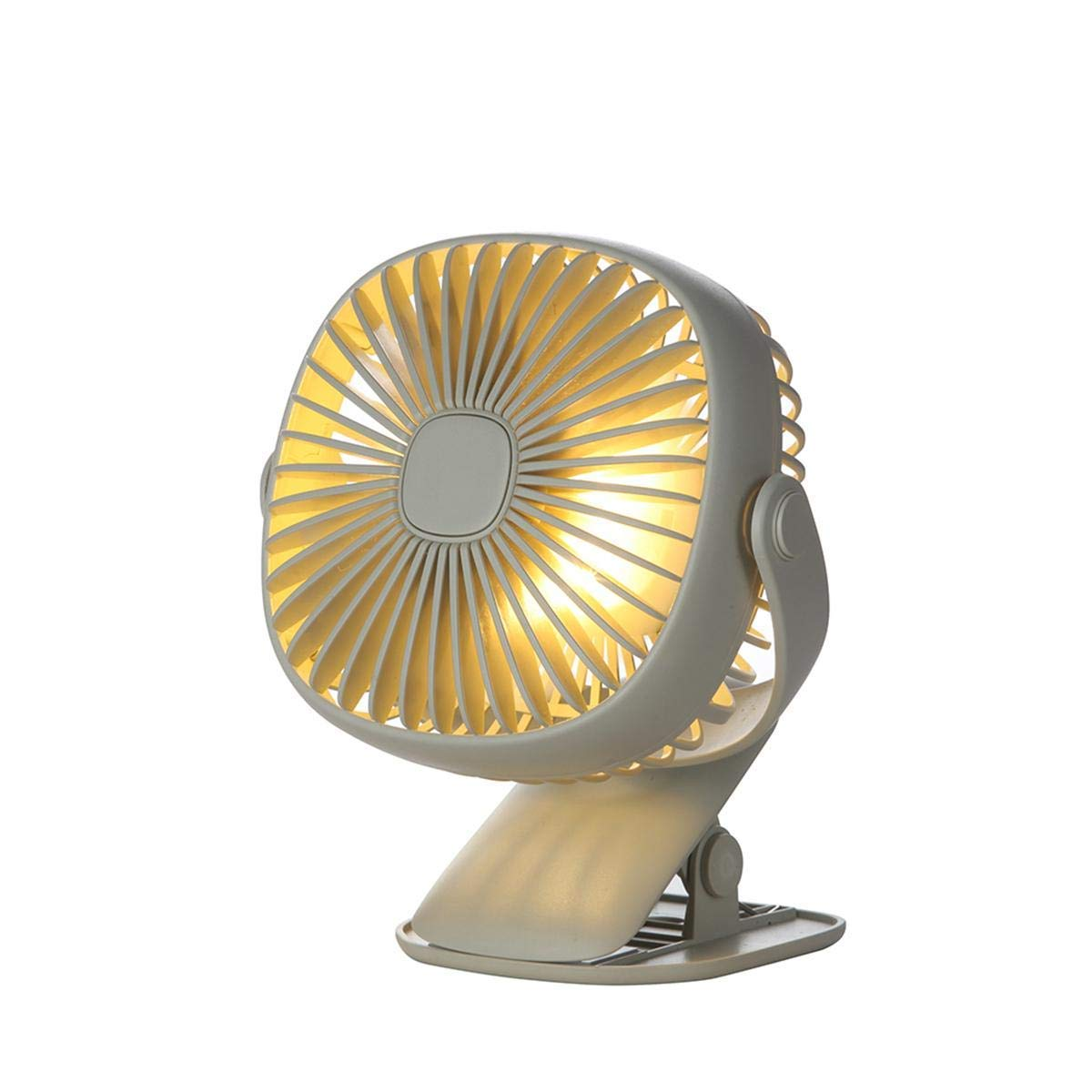 KOBWA Clip on Fan with LED Night Light Electronics Square Box Night Light Mini Fan,720 Degree Fan Portable USB Rechargeable Student Dormitory Office Shake Fan Desktop Family Travel Fan (White)