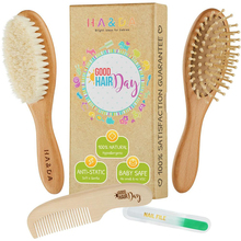 wooden kids small pocket mini goat hair brush,baby hair brush and comb set
