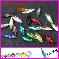 Top quality slim long horse eye all colors available 4x15mm crystal navette crystal rhinestones point back fancy shape
