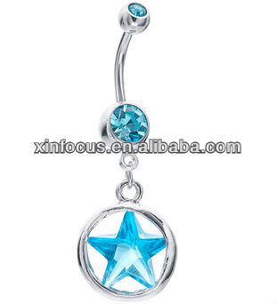 Double Jeweled Sapphire Cz Star And Steel Press Fit Belly Button Navel Ring Dangle Buy Belly Ring Dangle Cross Navel Rings Costume Belly Button