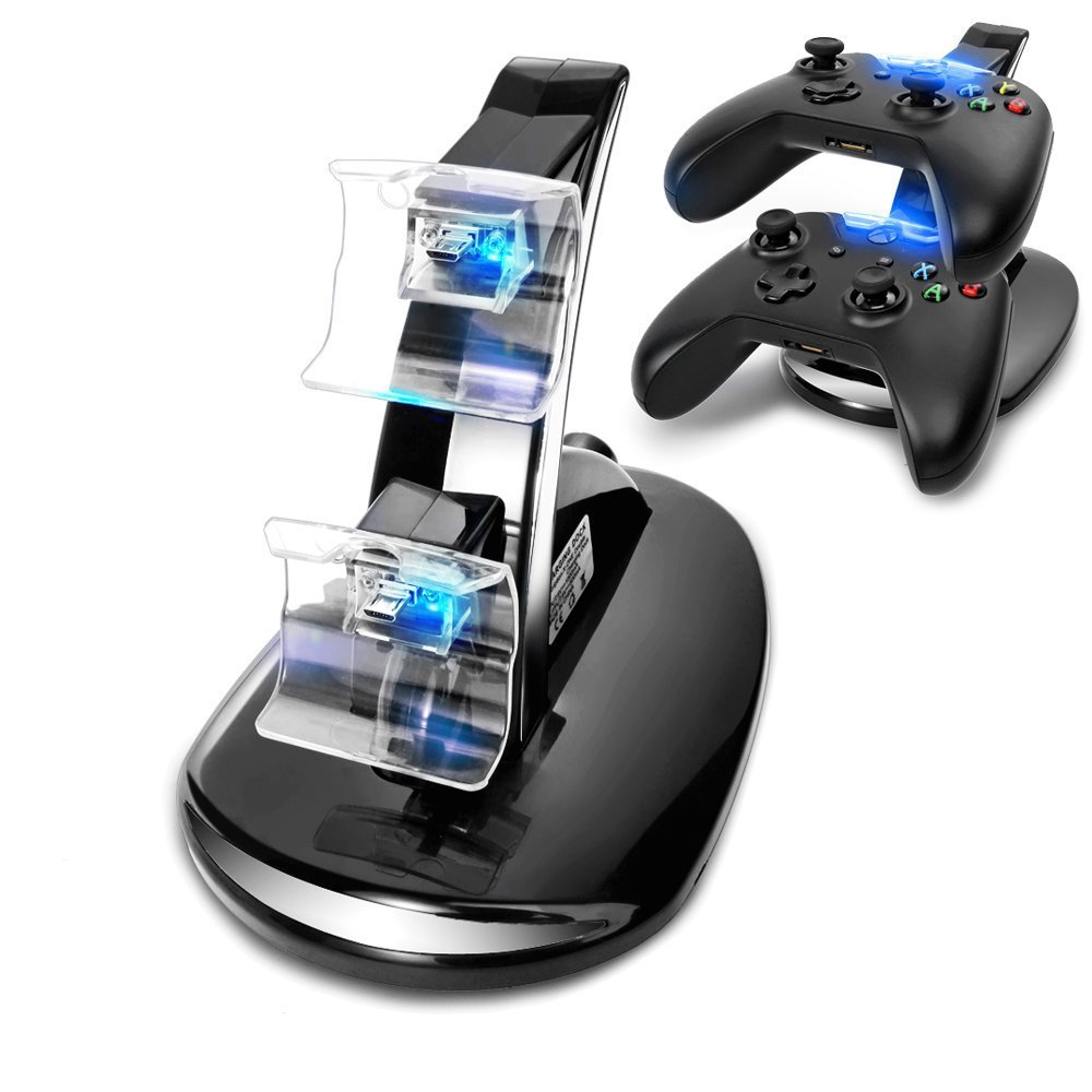 Black NEW led USB Fast Charging Adapter Stand Dock Station for Dual Xbox One Game Controller