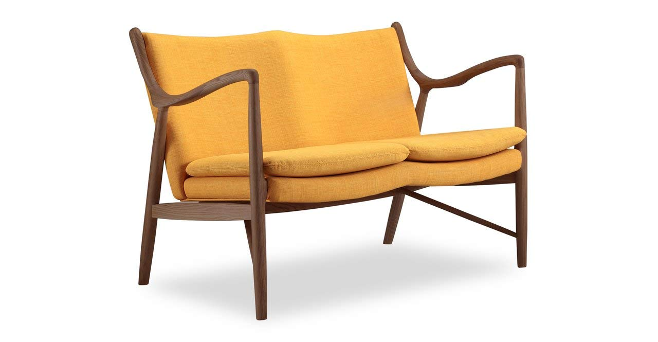 Kardiel Copenhagen 45 Mid-Century Modern Loveseat/2 Seat Sofa, Citrine Twill/Walnut