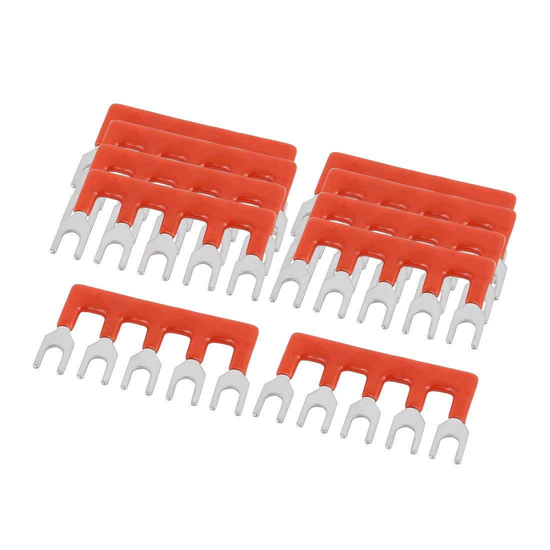 uxcell 10PCS 600V 15A 5mm Pitch 5P PCB Terminal Block Connector Strip Barrier Red