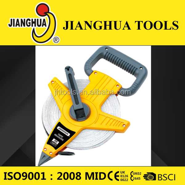 Jianghua 30m/50m/100m long fiberglass measuring tape construction tools