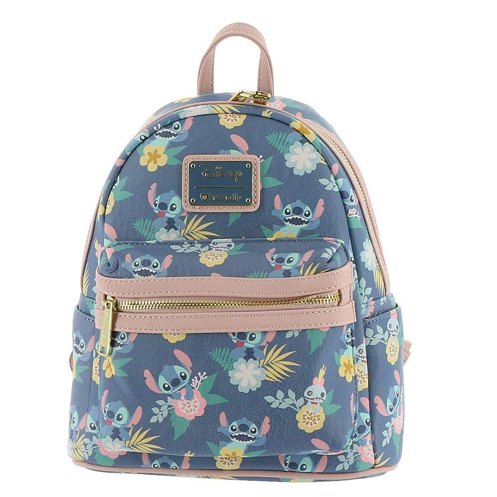 4a0afa6a5a4 Get Quotations · Loungefly Disney Stitch   Scrump Floral-Print Mini Backpack