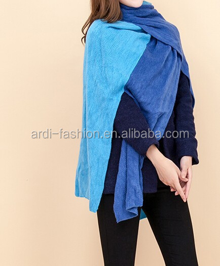 wholesale cheap two tone ladies long knitted cashmere scarf