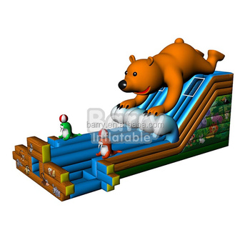High quality China factory 0.55 pvc bear slide inflatable water slide with pool for sale