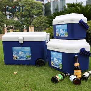 wholesale custom Portable outdoor camping plastic trolley beer fishing fish ice insulated cooler box with wheels