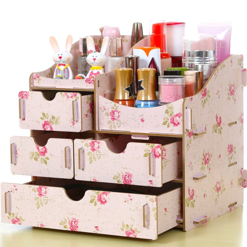 HOPE & WISH® Beautiful Flower Design Three Drawer Wooden DIY Cosmetic Makeup Organizer Removable Jewelry Display Box Collection Organizer Desk Drawer Organizer Bedroom Storage Case