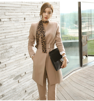2019 spring autumn elegant ladies' suits best seller women khaki office lady suits