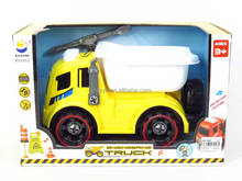 latest new toy Friction DIY Construction Truck cartoon drum truck with light and music