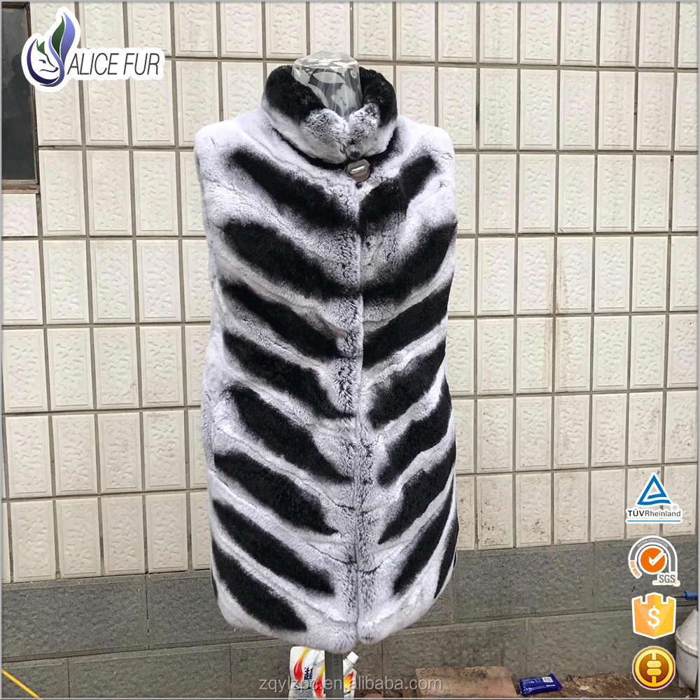 Women Fashion Luxury Natural real body vests With Best Price / rex rabbit fur vest