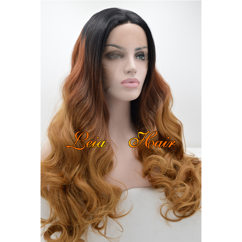 Brown Wig Synthetic Ombre Lace Front Wavy Wig Heat Resistant Kanekalon Hair Three Tone Color Black To Brown Glueless Long Wigs