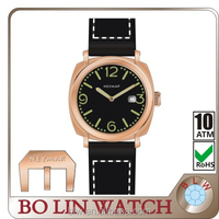fashion wholesale man watch with imported japan movt wrist watch of Germany imported navy copper watch case