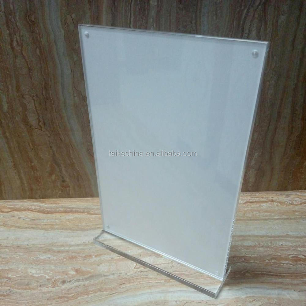 Customized A4 Zise Super Clear Acrylic Menu Holder