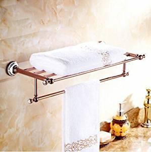 ZWBD Luxury Towel shelf golden brass Bathroom towel rack holder Golden Finish Bath Towel Shelves Towel Bar bath shelf,Rose gold