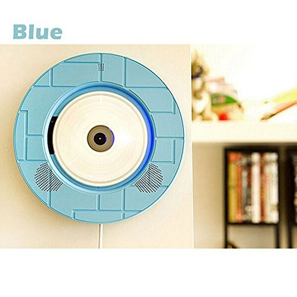 Portable Bluetooth Wall Mounted CD Player ,Portable Wall Mounted Hanging HIFI CD Bluetooth U Disk Audio Player with Remote Control For Learning and Baby Prenatal Education Music Players Blue