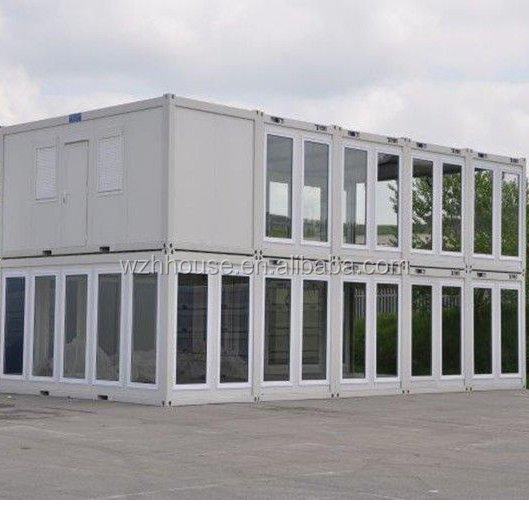 Prefab Modular Housing Two Storey Sliding Glass Wall Flat Pack Container House