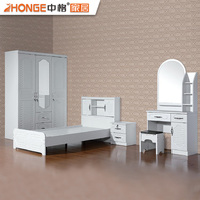 latest bedroom furniture contemporary style white PVC home bed modern MDF design bedroom sets