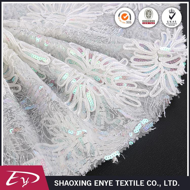 Top quality luxury ribbon sequin white wedding embroidery lace fabric