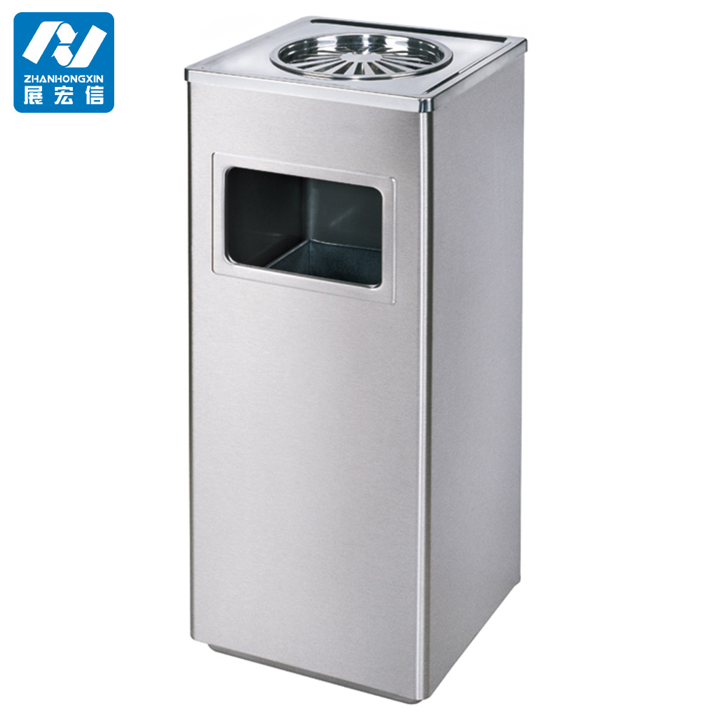 Outdoor Metal Standing Ashtray Bin Trash Bin