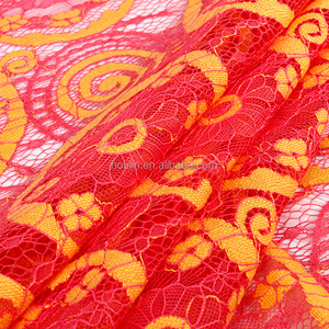 S792 new designs nylon cotton 3d round wave edging mesh sheer orange lace fabric for pyjama jacket