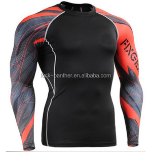 Sportswear Rash Guard Manufacturer Men 3d Printing Sublimation Compression Long Sleeves T Shirt