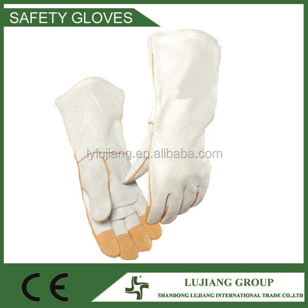 LJ-MS1010 Cow split long leather welding safety work gloves