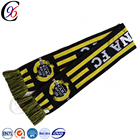 Chengxing jacquard cheap outdoor crochet sport fashion accessory fan knitted custom football promotional soccer scarf
