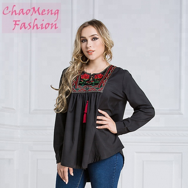 2021# Long sleeve Ethnic Embroidery tops Muslim new model in dubai blouse designs for fat women wholesale Islamic clothing