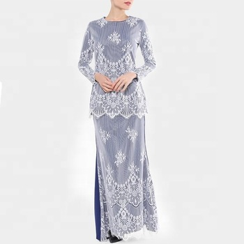 Modern Islamic Clothing Muslim Dress White Lace Baju Kurung Kebaya