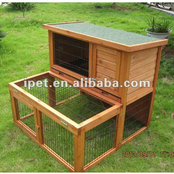 2 Story Outdoor Wooden Rabbit Hutch for Sale with Large Run