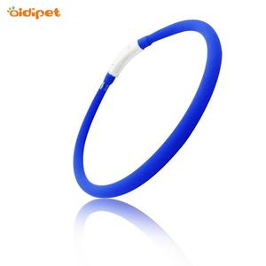 Cuttable Size Reflective Pet Dog Collar Band LED Shining Light Pet Necklace for Night Safety