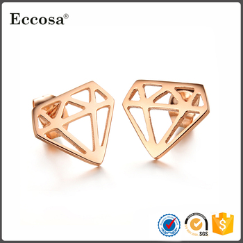 Fine Jewelry Diamond Shaped Stud Earrings Men Rose Gold Ip Stainless Steel Earring