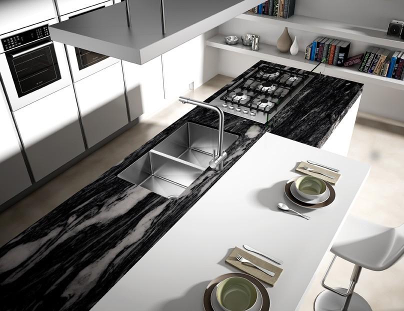 Moderno Diseño De La Cocina,Fregadero Doble Escurridor Plato Doble ...