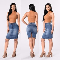FS0550A 2018 spring wholesale latest fashion women split denim skirt