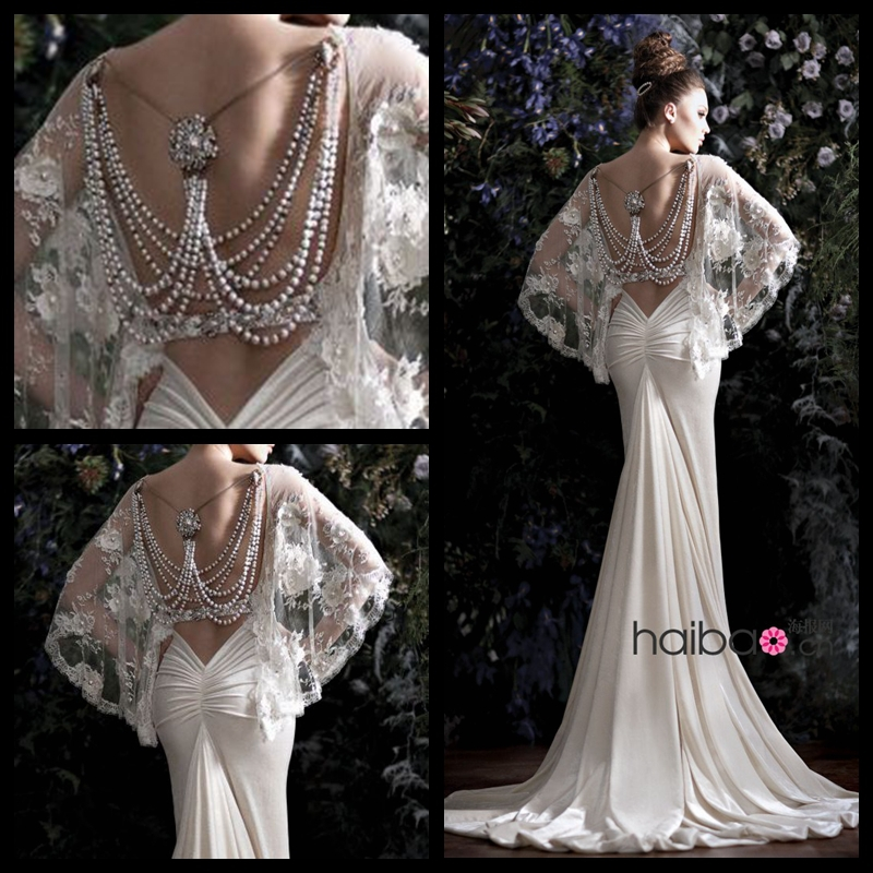 Latest Wedding Gowns 2014: Latest Sexy Galia Lahav Beading Pearls Lace Cape Backless