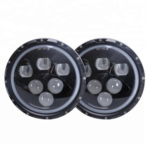Black LED Projector 7 inch Round LED Headlight White High Low Beam for jeep grand cherokee