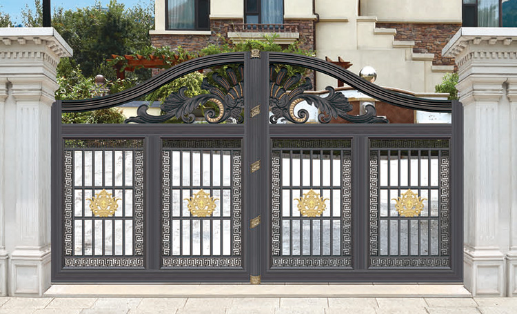 Best Price Simple Wrought Iron Pipe Sliding House Main Gate Grill Design  For Home Boundary Wall